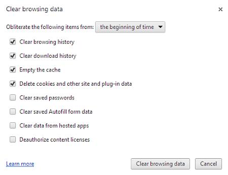 clear google chrome browsing data