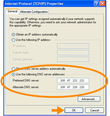 Windows XP OpenDNS