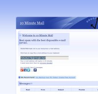 10minutemail.com screenshot