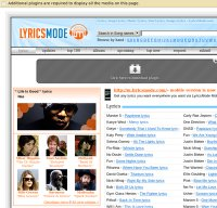 lyricsmode.com screenshot