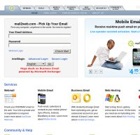 mail2web.com screenshot