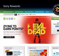 sonyrewards.com screenshot